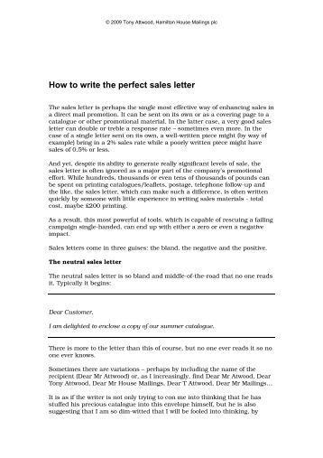 how to write the perfect sales letter hamilton house mailings