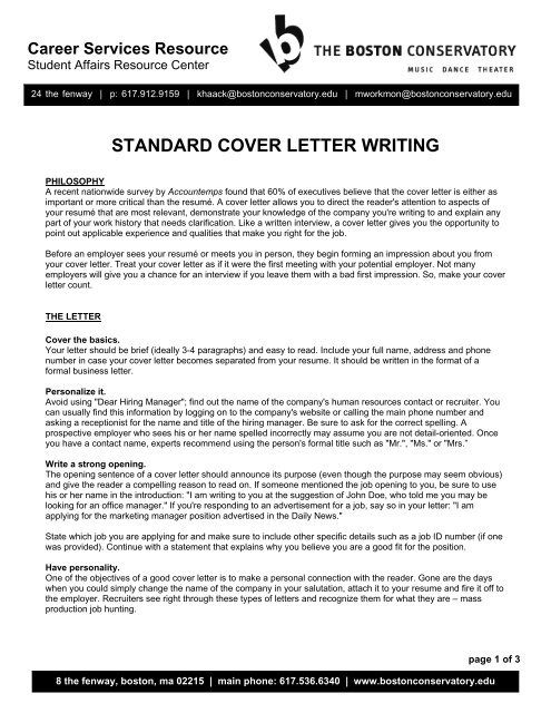 standard cover letter writing the boston conservatory
