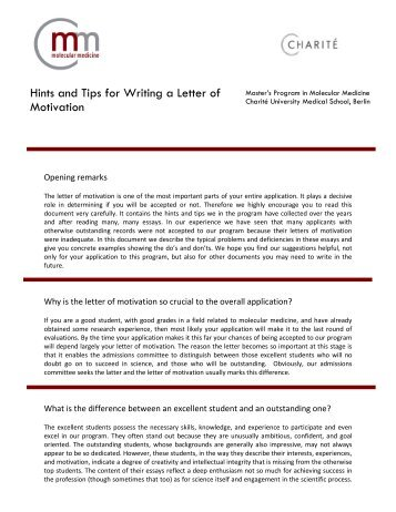 Hints and Tips for Writing a Letter of Motivation - International Master ...