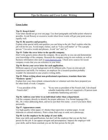 cover letter tips for resume
