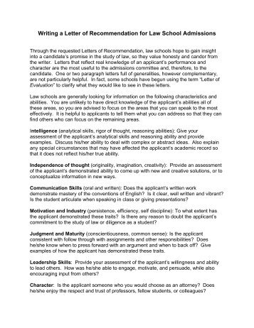 Law School Recommendation Letter Template Cover Letter