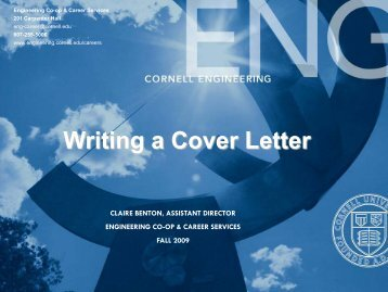Writing A Cover Letter – Engineering Co -op