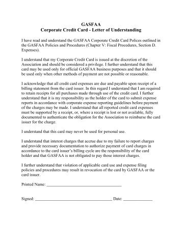 Gasfaa Corporate Credit Card Letter Of Understanding