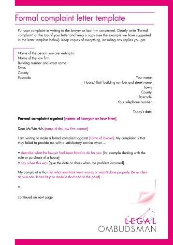 formal complaint letter template legal ombudsman