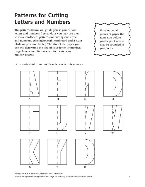 Patterns For Cutting Letters And Numbers