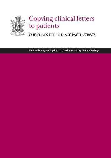 Copying clinical letters to patients: guidelines for old - Royal College ...