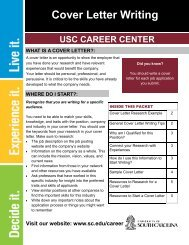 Cover Letter Writing Packet - University of South Carolina