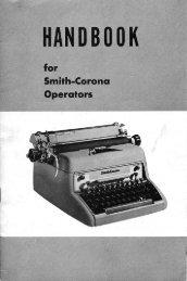 Handbook for Smith-Corona Operators - Sevenels