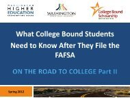 What College Bound Students Need to Know After They File ... - WSAC
