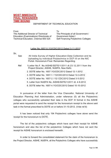 New-honorarium letter to Ploytechnic Colleges - Directorate Of ...