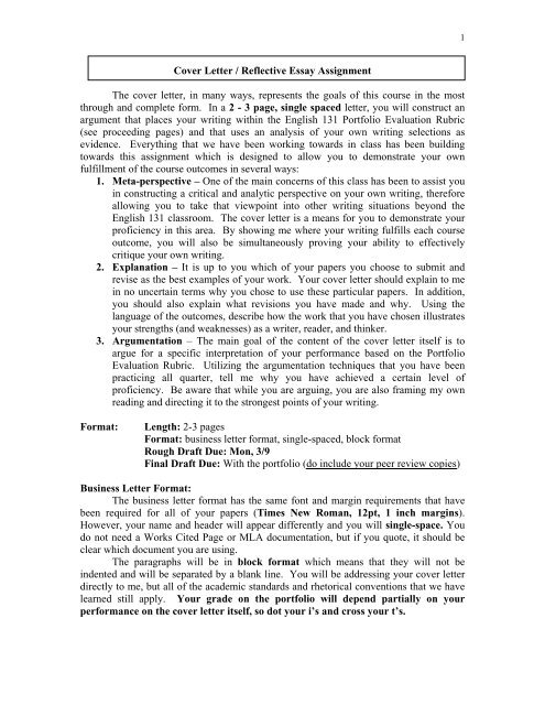 Cover letter reflective essay assignment university of washington