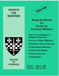 Hiring Handbook For Parish Lay Ecclesial Ministers - Diocese of ...