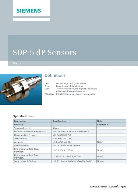 Siemens SDP-5 dP Sensors