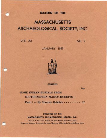 Some Indian Burials from Southeastern Massachusetts