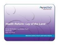 Webinar: Health Reform - Lay of the Land - nastad