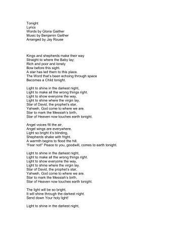 Tonight Lyrics Words by Gloria Gaither Music by ... - PraiseGathering