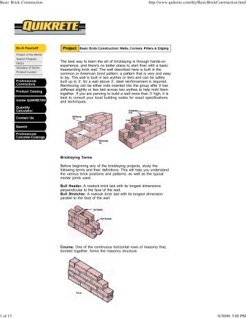 Basic Brick Construction - Quikrete
