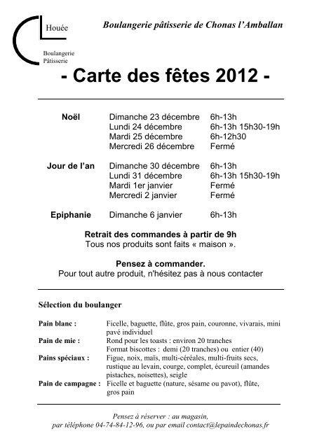 Carte Boulangerie.2012 Carte Noel Boulangerie Patisserie De Chonas L Amballan