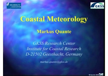 Coastal Meteorology - Institute of Coastal Research