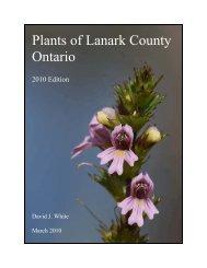 Lanark County Plants – Revised 2010 - Christie Lake Association