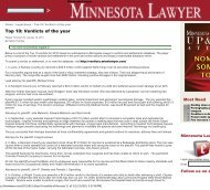 Top 10: Verdicts of the year - Minnesota Lawyer