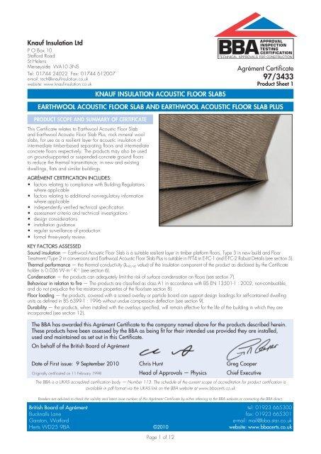 Earthwool Acoustic Floor Slab and Earthwool     - Knauf Insulation