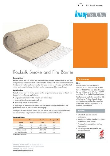 Rocksilk Smoke and Fire Barrier - Knauf Insulation