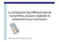 La composition des différents laits - Nutrition Enfants Aquitaine