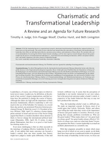 Charismatic and Transformational Leadership - Timothy A. Judge
