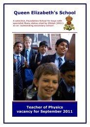 teacher of physics - Queen Elizabeth's School