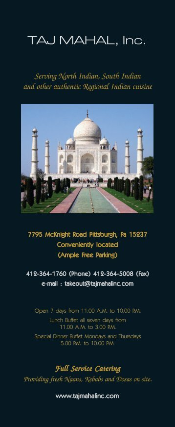 Printable Menu - The Taj Mahal