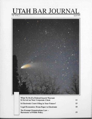 April 1997 VOlume 10 No3 - the Utah State Bar