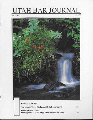June 1997 Volume 10 No5 - the Utah State Bar