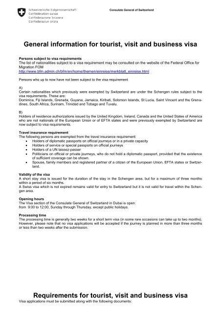 General requirements for visa - VFS Global