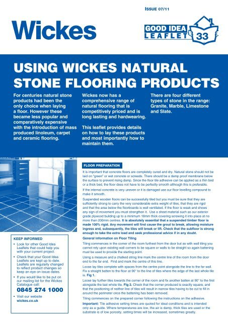 Using Wickes Natural Stone Flooring Products