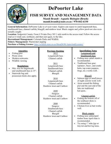 Depoorters Lake Survey Summary - Colorado Division of Wildlife