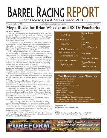 Mega Bucks for Brian Wheeler and SX Dr Peacharita - Barrel Racing ...