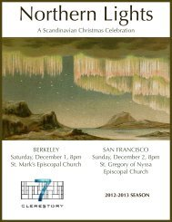 Northern Lights program - Clerestory