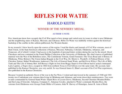 rifles for watie quotes