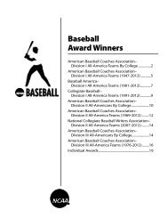 Baseball Award Winners - National Collegiate Athletic Association
