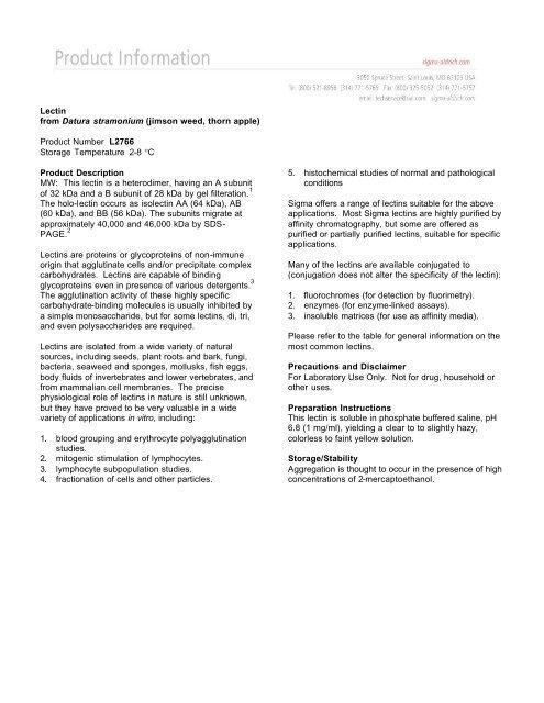 Lectin from Datura stramonium (jimson weed, thorn     - Sigma-Aldrich
