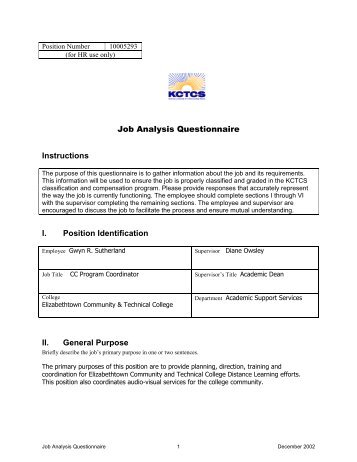 Job Analysis Questionnaire Of Library Staff  Owensboro Community