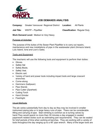 Physical Job Demands Analysis - WWTP Pipefitter - Metro Vancouver