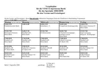 Vergabeplan für die VINETA-Sportarena Barth für das Sportjahr ...