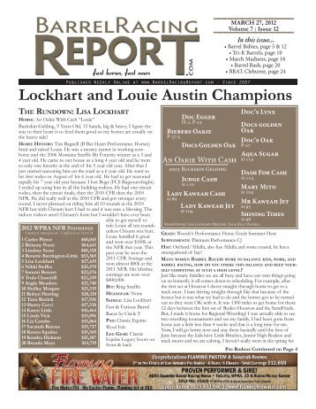 Lockhart and Louie Austin Champions - Barrel Racing Report