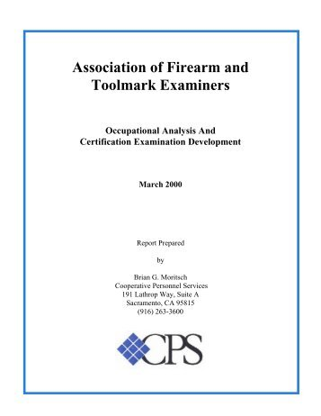 Job Analysis Report   Association Of Firearm And Toolmark Examiners