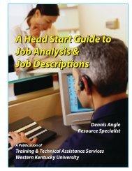 Head Start Guide to Job Analysis & Job - WKU Orgs Server ...