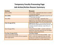 Temporary Faculty Processing Page Job Action/Action Reason ...