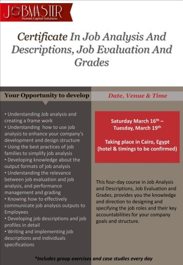 Certificate in Job Analysis & Descriptions, Job Evaluation - jobmaster