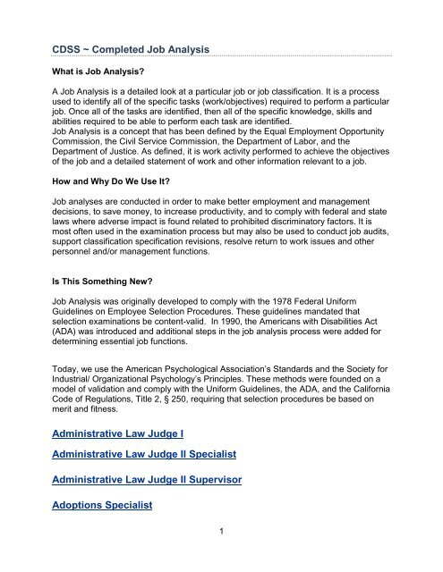 Completed Job Analysis - California Department of Social